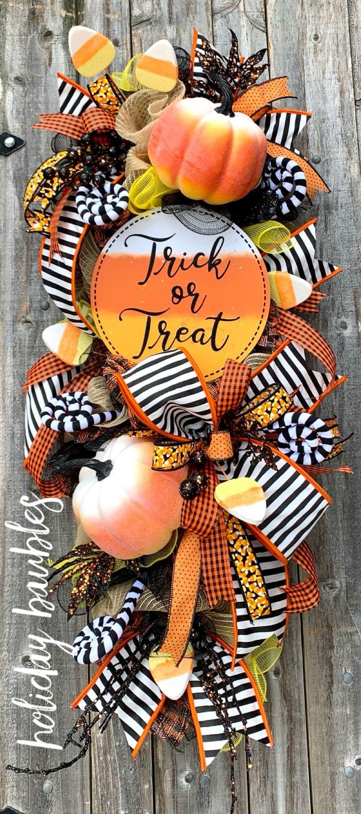 Halloween Wreath Halloween Swag Candy Corn Halloween