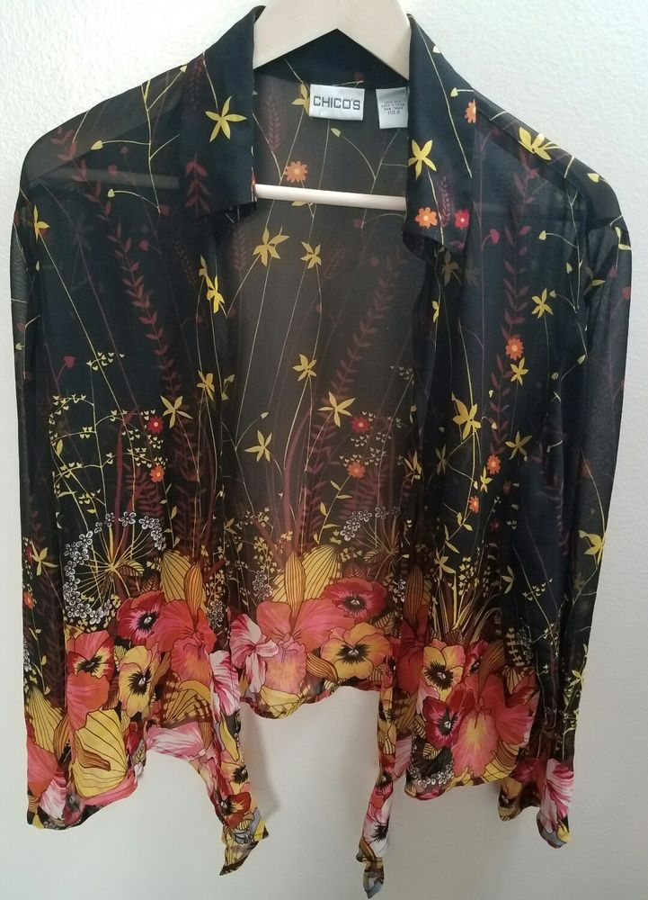 c63a2ae6d3733 Womens Chicos Size 2 Sheer Silk Blouse Floral Open-Front Long Sleeve ...