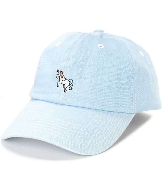 Quirky yet draped in a fashionable bent bill design, the Empyre Solstice Unicorn Light Denim Hat features a white unicorn with orange and yellow hair along with a green, blue, and purple tail. A great accessory to show off your creative fun side.