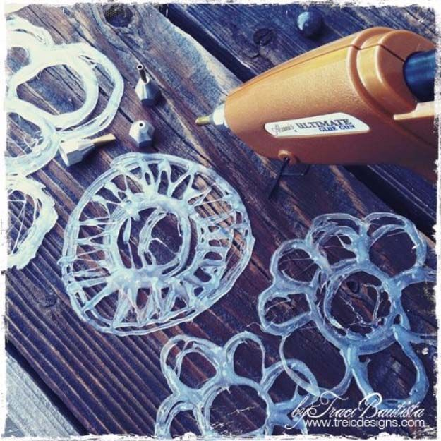 Fun Crafts To Do With A Hot Glue Gun | Best Hot Glue Gun Crafts, DIY Projects and Arts and Crafts Ideas Using Glue Gun Sticks | Hot Glue as Hand Made Stencils | http://diyjoy.com/hot-glue-gun-crafts-ideas