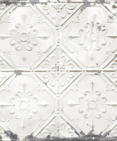 Silver Vintage Tin Tile Self-Adhesive Wallpaper | Love this wallpaper! | farmhouse style home decor ideas