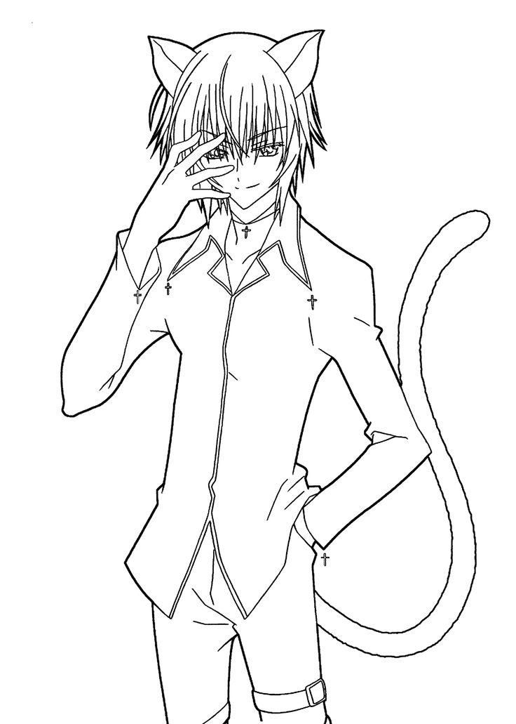 Manga Coloring Pages Cat Boy Chibi Coloring Pages Coloring Pages For Boys Cat Coloring Page