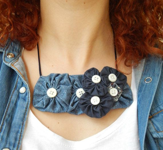 Statement Bib Necklace with Denim Fabric Flowers - Rosette Fabric Necklace - Women's Statement Collar Necklace - Valentine present for her