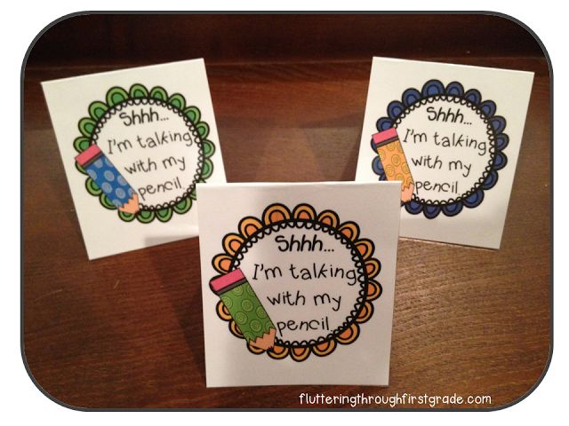 Shhh...I'm Talking With My Pencil visual reminder table tents for talkative students. Working like a charm! :)