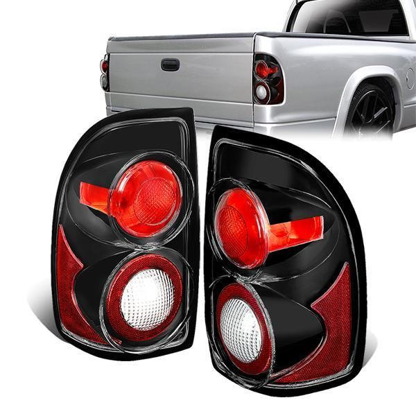 97 04 Dodge Dakota Rear Brake Tail Lights Altezza Style Black Housing In 2020 Dodge Dakota Tail Light Dodge