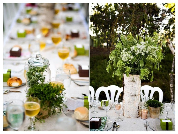 Birch Wedding Centerpiece Examples Then Surround With Flowers