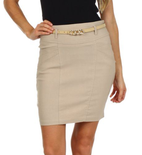 Sakkas Petite Stretch Short Pencil Skirt with Skinny Belt * Continue to the item at the image link.