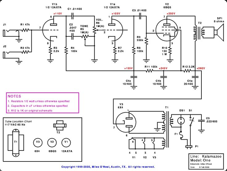 Kalamazoo Model One Amp Schematic Kalamazoo Amps