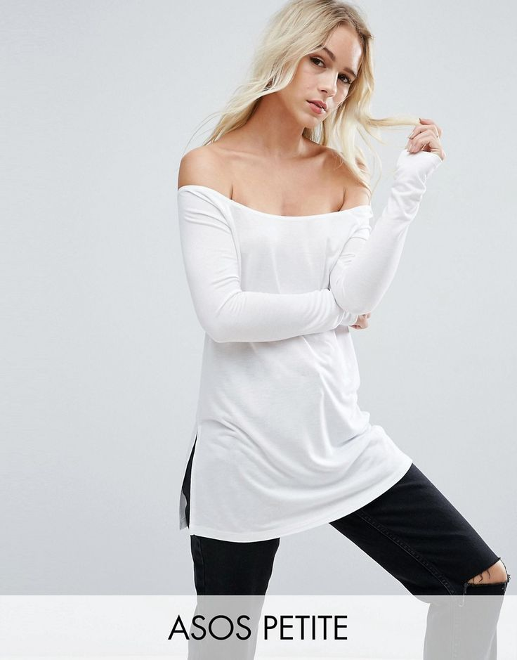 Buy it now. ASOS PETITE Off Shoulder Slouchy Top With Side Split - White. Petite top by ASOS PETITE, Soft-touch jersey, Off-shoulder neckline, Side splits, Loose fit � falls loosely over the body, Machine wash, 100% Viscose, Our model wears a UK 8/EU 36/US 4. ABOUT ASOS PETITE 5�3�/1.60m and under? The London-based design team behind ASOS PETITE take all your fashion faves and cut them down to size. Say goodbye to all your short-girl problems with our perfectly proportioned denim, day-t...