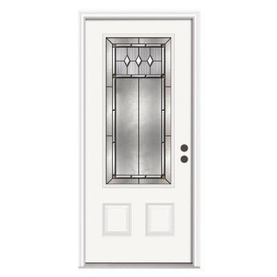 36 In X 80 In Mission Prairie 3 4 Lite Primed Premium Steel Prehung Front Door With Brickmould