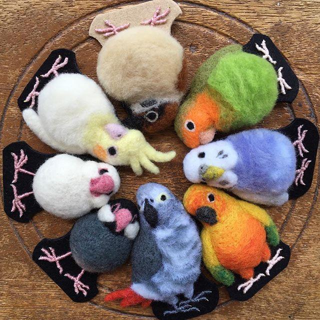 おしくらまんじゅう笑。 3日メルカリにて17時から販売いたします(•ө•)♡ #羊毛フェルト #メルカリ #インコ #野鳥 #文鳥 #可愛い #ふわふわ #もふもふ #ハンドメイド #マメルリハ #鳥 #ブローチ #カメレオン #handmade #needlefelting #wool #felting #felted #pet #handmadewithlove #brooches #chameleon
