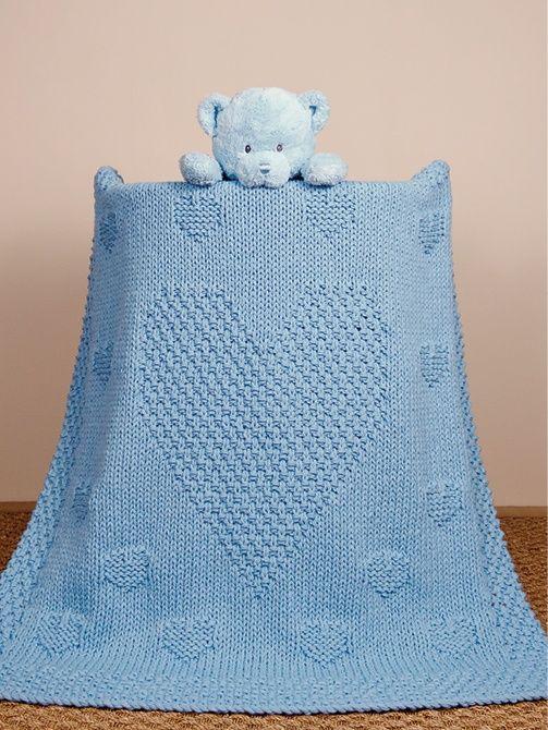 mantinha de tricot com corações
