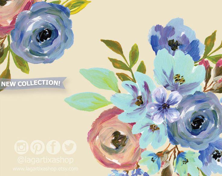 https://www.etsy.com/mx/listing/498350801/acrilico-floral-clipart-png-bouquet-de #acrylicpainting #vintage #bouquet #blueflowers #handpainted #floralclipart #wedding #art
