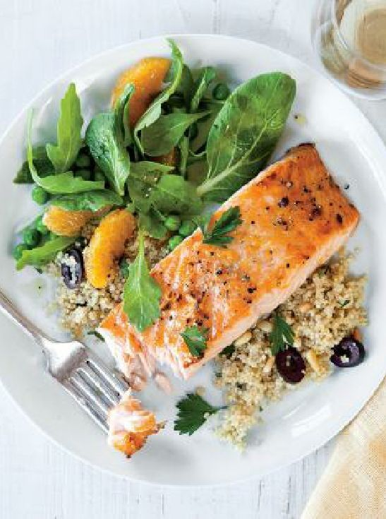Low FODMAP & Gluten free Recipe - Maple & orange roast salmon with quinoa www.ibssano.com/...