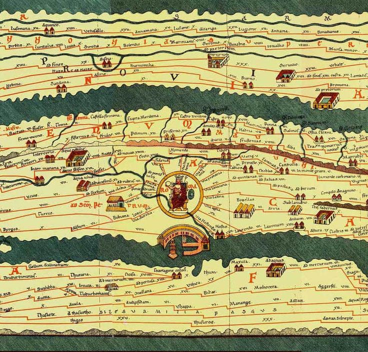 Roman map of the ancient world shows the road network in the Roman Empire in the 4th century and covers Europe, parts of Asia (India) and North-Africa