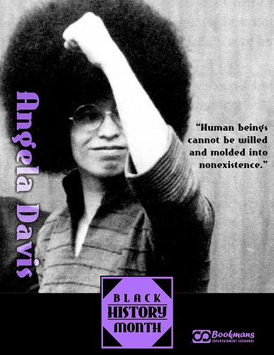 angela davis.  this is one of my favorite pictures of angela with her afro and with her fist in the air signaling BLACK POWER! sister souljah