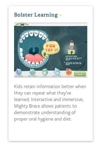 Did you know...? Mighty Brace can help bolster learning with young patients...Taking patient education to their level! #braces #app #orthodontics