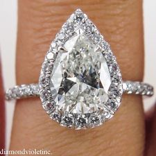GIA 1.83CT ESTATE VINTAGE PEAR DIAMOND ENGAGEMENT WEDDING RING PLATINUM
