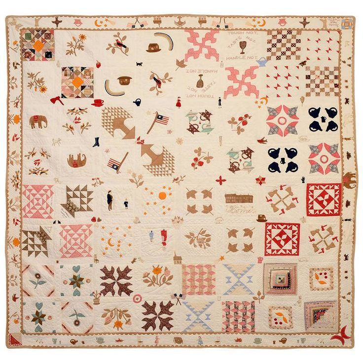 Temperance Sampler Quilt with Figures and Animals and Figures 1