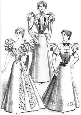 """By 1899, the sleeevs had slimmed considerably. The corset shape had changed to the """"S"""" curve, giving beginings of the full breasted, pigeon look of the Edwardian period."""