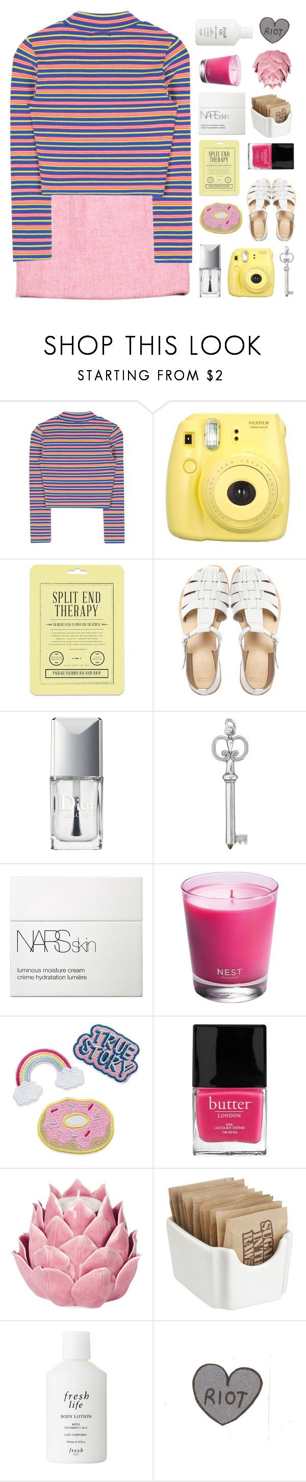 """""""candy"""" by seoul-searching ❤ liked on Polyvore featuring Fujifilm, Love 21, ASOS, Christian Dior, NARS Cosmetics, Nest, Butter London, Zara Home, Crate and Barrel and Fresh"""