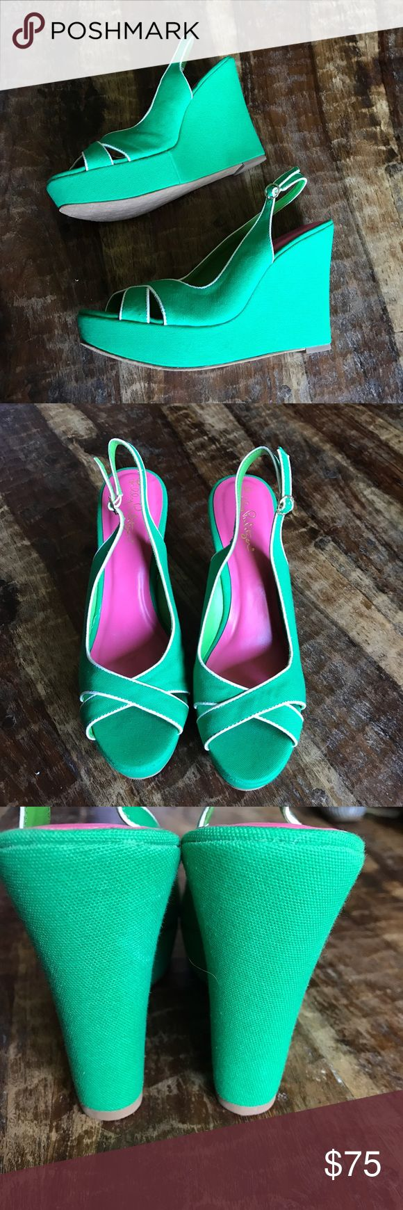 "Lilly Pulitzer Wedges Gorgeous Kelly Green Wedges in new condition. Beautiful color that's perfect for the summer. 5"" Wedge with 1"" platform. Lilly Pulitzer Shoes Wedges"