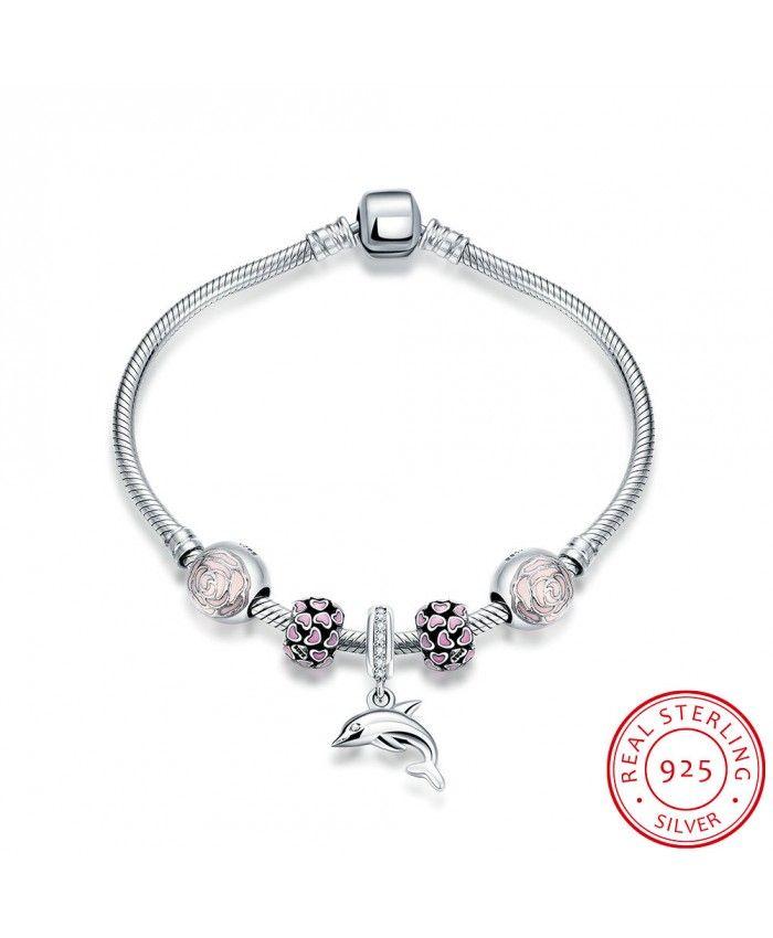 Antique Vintage Unisex Fashion 925 Sterling Silver DIY Pink Geometric Bracelets