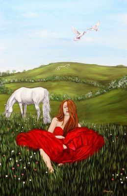 Rhiannon by Elluna Art A3 Size Print, Goddess of love, beauty, sensuality.  Woman of the blossoming hawthorn.