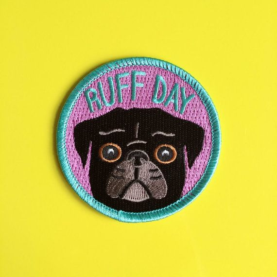 Having a Ruff Day? This cute black pug patch is perfect for dog lovers! Either iron or sew on to your jacket, bag, hat..anything you like! This is quite a large patch, measuring 7cm (2.75) across. _______________________________________________________________________  To Iron On:  - Set the iron to the hottest setting with no steam  - Position the patch and pop a tea towel over it  - Iron over the patch for 30 seconds and then turn it over and iron the other side for a following 30 seconds…