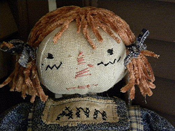 Folk Art Raggedy Ann, Primitive Raggedy Ann, Raggedy Ann Doll, Cloth Doll, Rag Doll, Blue, Beige, Black, Red, Vintage Rag Doll, Antique