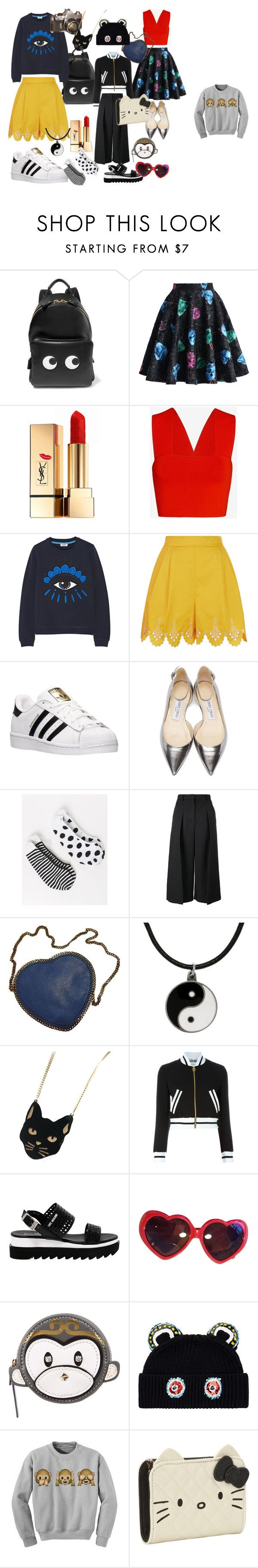 """Chinese Hong Kong Style"" by jenny-ragnwaldh on Polyvore featuring Anya Hindmarch, Chicwish, Yves Saint Laurent, A.L.C., Kenzo, Temperley London, adidas, Jimmy Choo, Lane Bryant and Erdem"