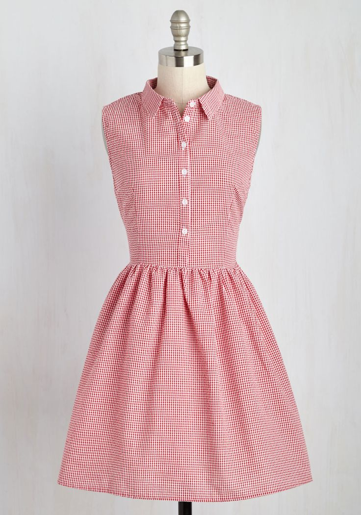 Come Fun, Come All Dress - Red, White, Checkered / Gingham, Print, Casual, Nautical, A-line, Shirt Dress, Sleeveless, Spring, Woven, Good, Short