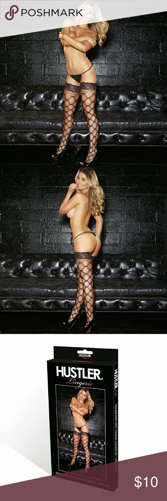 Hustler Lingeries Lace Top Diamondnet Thigh High Get the ultimate hustler look in these diamond net thigh high with lace top. Featuring the always sexy diamond pattern, these thigh high stocking are a must have for every woman. One size fit most .(fit up to size 10) 100% Nylon GET IT WHILE IT LAST!  FREE MYSTERY GIFT WHEN ORDER IS 20$ OR MORE !!!!! Hustler Lingeries Accessories Hosiery & Socks
