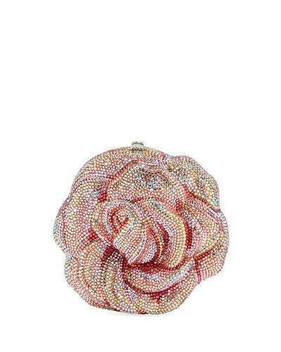 Couture Rose Apricot Crystal Clutch Bag Austrian Finest Beaded