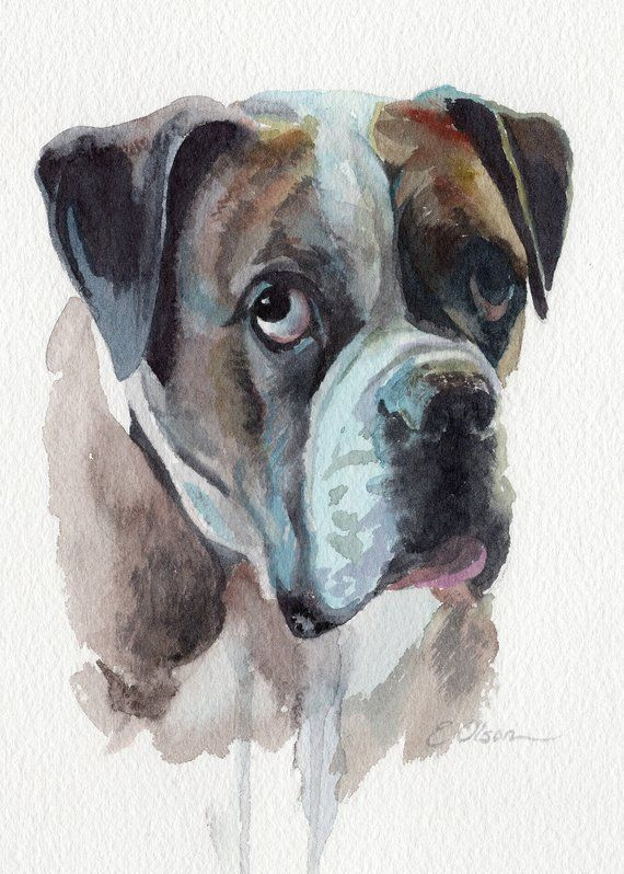 Custom Watercolor Pet Portrait Painting Personalized Etsy Pet