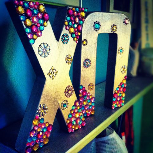 Check out these bedazzled Chi Omega letters!