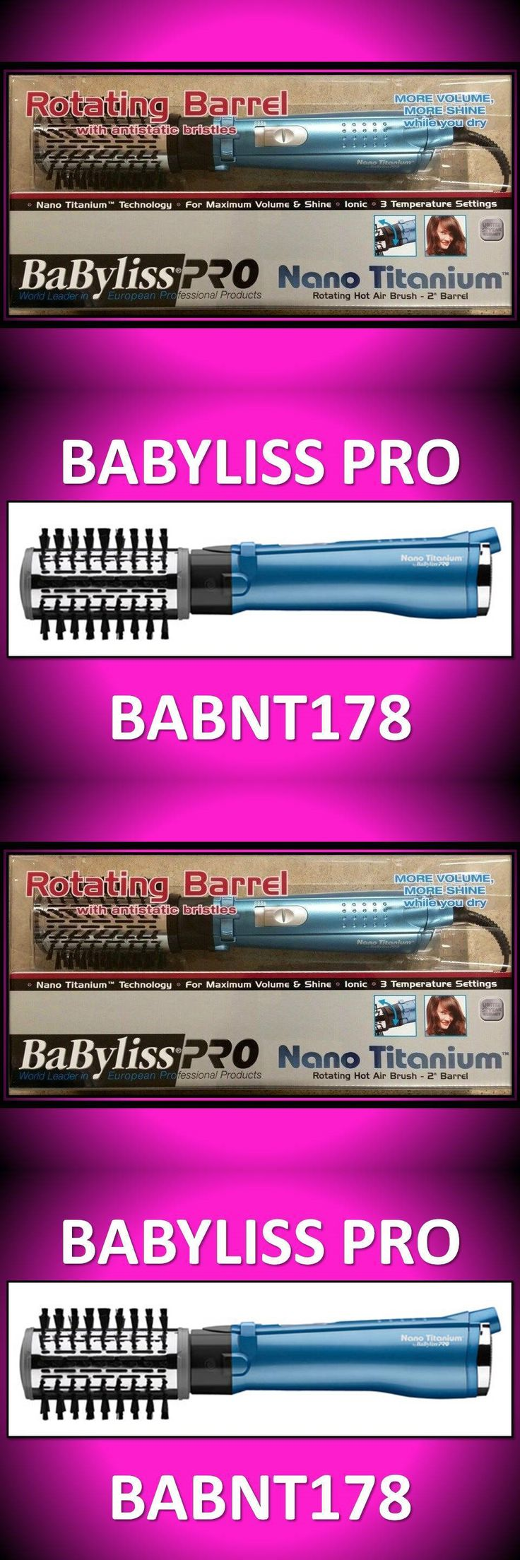 Straightening and Curling Irons: Babyliss Pro 2 Nano Titanium Rotating Hot Air Brush Amplifier Dryer # Babnt178 -> BUY IT NOW ONLY: $68.02 on eBay!