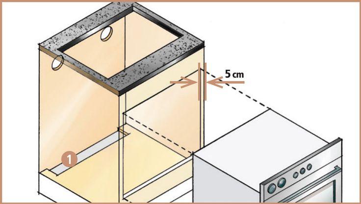 O nicho do forno sob medida d acordo com as dim. do aparelho e dist. de 5 cm das laterais internas e fundo. um recorte de 50 x 8 cm na base da caixa (1) p ventilação - colocar o cooktop logo acima, em uma bancada, livrando 5 e 10 cm do fundo. o ponto de saída do gás- do lado de fora da marcenaria a, no máximo, 1 m a partir do centro do fogão. instalar uma grade de ventilação entre os equipamentos (2). - A bancada q apoia o fogão deve ter de 2 a 6 cm de espessura e resistente a temp. de 90º…