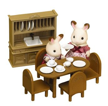 Sylvanian Families Treehouse Dining Room Furniture Natural Looking Set Designed For Sylvanias Old