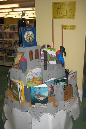 This could be easy to make with a few boxes, and construction paper? If so, we could make a few castle book displays.