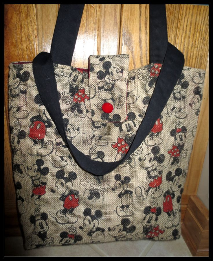 Burlap Mickey tote I made for a gift.. red flannel liner.
