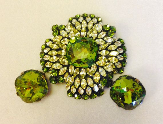 Huge Peridot Green And Yellow Schreiner Brooch by INTEGRITYJEWELS  $795