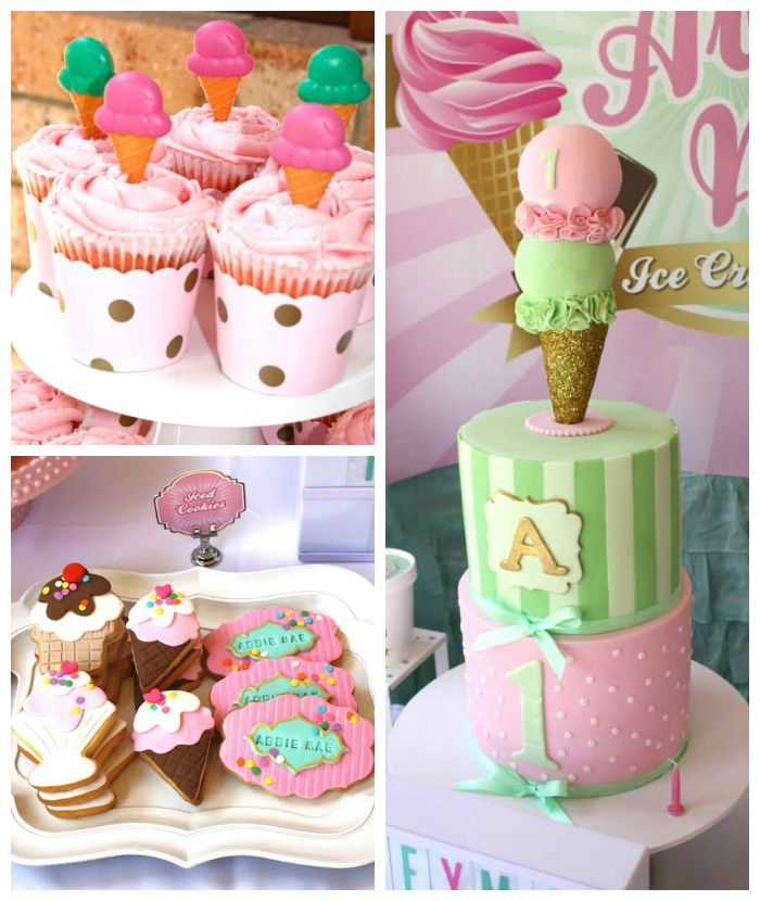 Planning a party? Look at this Ice Cream Parlor Themed Birthday Party via Kara's Party Ideas KarasPartyIdeas.com Cake, decor, printables, favors, tutorials, and more! Love the cookies & cake! #icecreamparty #vintageicecreamparlor #icecreamparlor #icecreampartyideas #partyplanning (2)