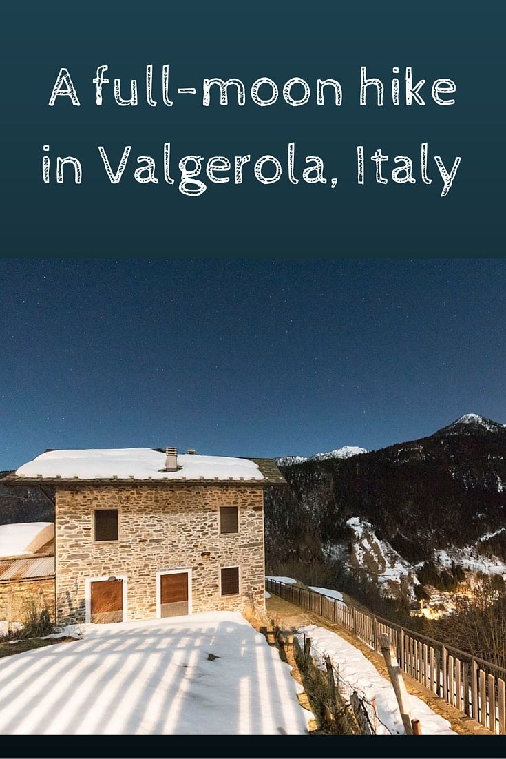 A full moon hike across frozen Valgerola, Italy, to an abandoned village.