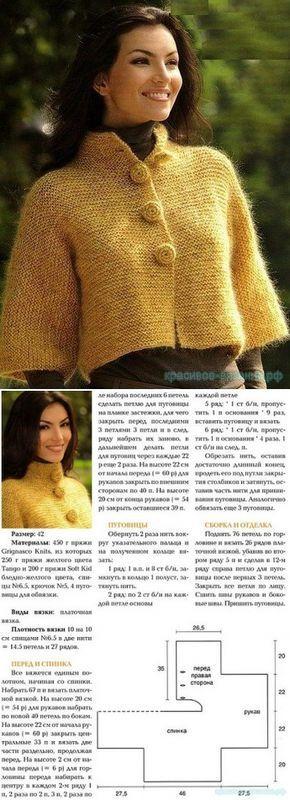 Теплый короткий жакет для женщин спицами — Красивое вязание