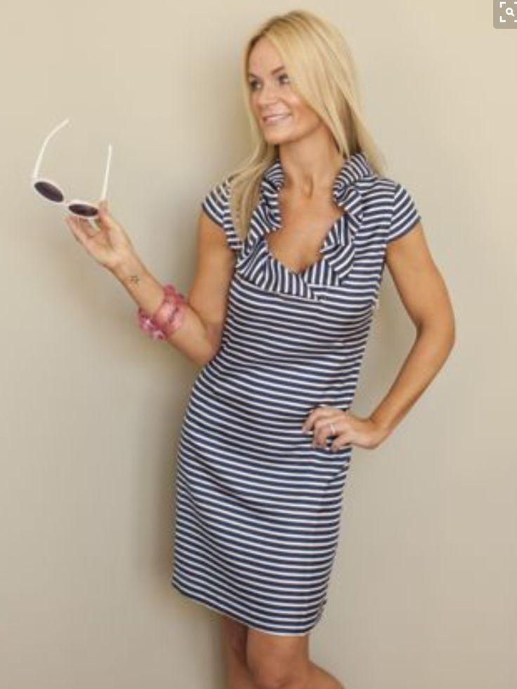 Navy and white striped dress. Cap sleeved, fluttered neckline dress. Nautical. Resort wear. Stitch fix.