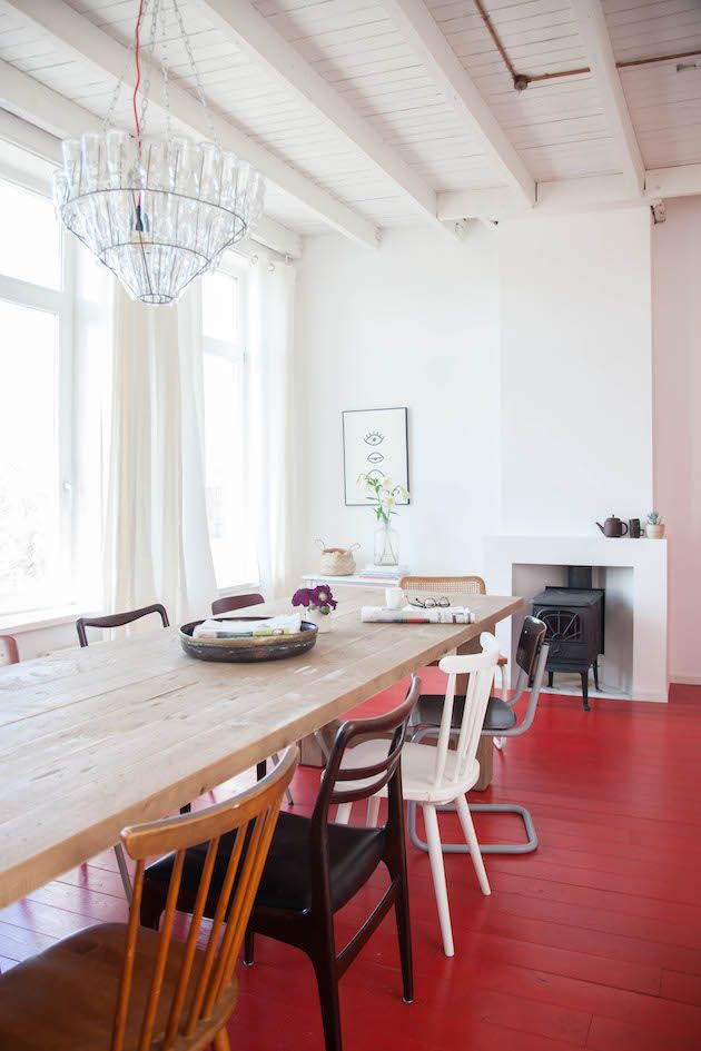 A dutch guest house with red floors and vintage touches.