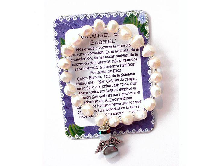 Pulsera Arcangel San Gabriel perlas Ref. 228