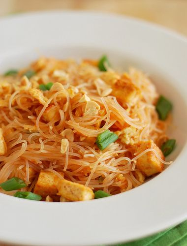 Pad Thai-I made this with tofu instead of chicken. The sauce was yummy, but I didn't pour all of it over the noodles. Added it to taste. I also used lo mein noodles (not rice noodles), and soy sauce when done (which makes it for me). No eggs and 4 scallions, plus peanuts or cashews to toss in. YUM!