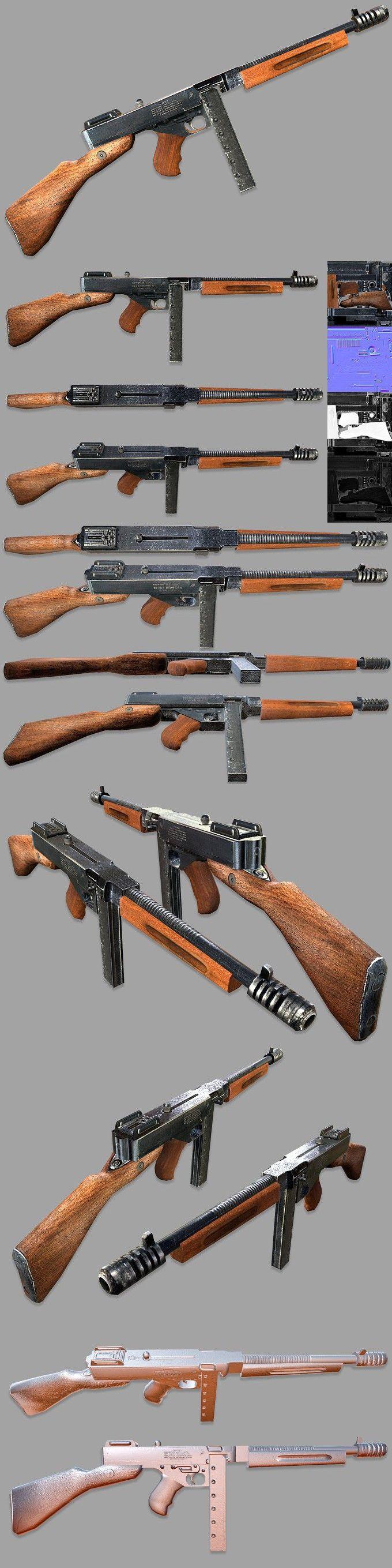 Thompson Submachine Gun. 3D Objects